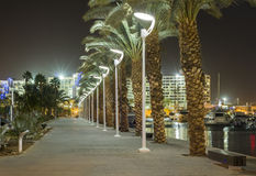 Night view on promenade of Eilat Royalty Free Stock Images
