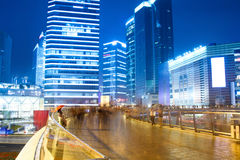 Night view of prosperous city. Night view of the bustling city on the pedestrian bridge in shanghai,China Stock Images