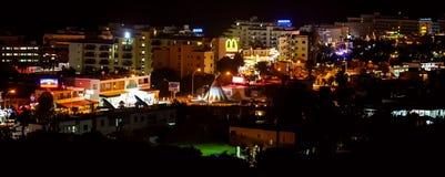 Night view on Protaras, Cyprus Stock Image