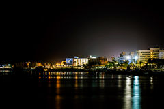 Night view on Protaras, Cyprus Royalty Free Stock Images