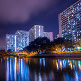 Night View of public housing in Hong Kong Royalty Free Stock Photo