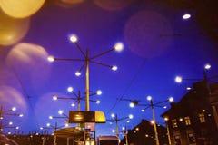 Night view of public transportation hub on jakominiplatz in aust. Rian city graz Stock Image