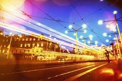 Night view of public transportation hub on jakominiplatz in aust. Rian city graz Stock Photo