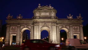 Night view of The Puerta de Alcala in Madrid, Spain - a monument in the Independence Square stock video