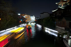 Night view on Qinhuai River Nanjing China Stock Photos