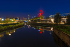 Night view of Queen Elizabeth Olympic Park, London UK Royalty Free Stock Photography