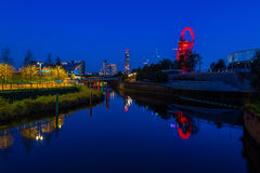 Night view of Queen Elizabeth Olympic Park, London UK Stock Photography