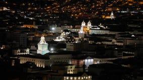 Quito Ecuador night view. Night view of Quito, Ecuador, churches in the historic center stock video