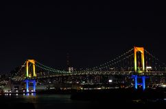 Night view of the Rainbow Bridge. Stock Image