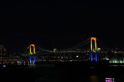 Night view of the Rainbow Bridge. Stock Photo