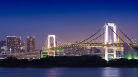 Night View of Rainbow Bridge Royalty Free Stock Image
