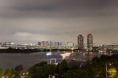 Night view of Rainbow Bridge and the surrounding Tokyo Bay area as seen from Odaiba,Minato, Tokyo, Japan. Royalty Free Stock Photos