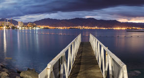 Night view on Red Sea from the central beach of Eilat Royalty Free Stock Photo