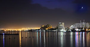 Night view on the Red sea and Eilat Royalty Free Stock Photography