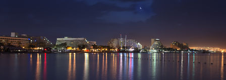 Night view on the Red sea and Eilat Stock Image