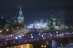Night view of the Red Square, the Kremlin Stock Photography