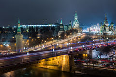 Night view of the Red Square, the Kremlin Stock Images