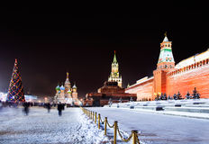 Night view of the Red Square in Moscow with decora Stock Photos