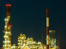 Night view of the refinery petrochemical plant Stock Images