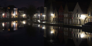 Night view of reflections in Bruges canal Stock Image