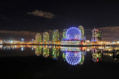 Night View of Refurnished Science World in Vancouver Stock Photography