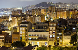 Night view of residence district in Badalona Royalty Free Stock Photography