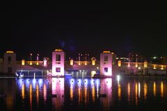 Night view in a resort. On a bridge Stock Image