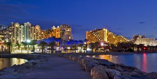 Night view on resort hotels, Eilat, Israel Royalty Free Stock Image