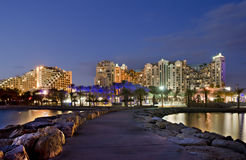 Night view on resort hotels, Eilat, Israel Stock Photography