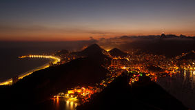 Night View of Rio de Janeiro. Rio de Janeiro aerial view from the Sugarloaf Mountain by night Royalty Free Stock Image