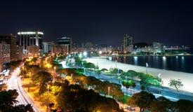 Night View of Rio de Janeiro. Night View of Botafogo Beach and Guanabara Bay in Rio de Janeiro, Brazil Stock Photo