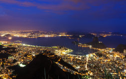 Night view of Rio de Janeiro, mountain Sugar Loaf Stock Photo
