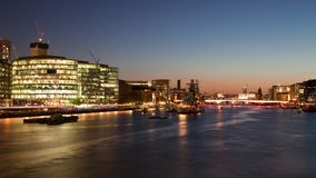 Night view of River Thames from the Tower Bridge Stock Photos