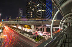 Night view by the road in Bangkok Royalty Free Stock Image