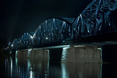 Night view of road bridge in Torun, Poland Royalty Free Stock Images