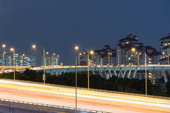 Night view of roads with  trace of cars slow shutter blur Royalty Free Stock Images