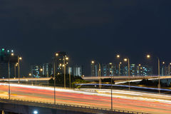 Night view of roads with  trace of cars slow shutter blur Stock Photo