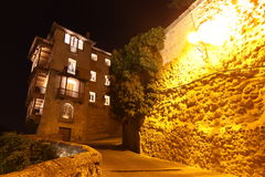 Night view on rocky bank Jucar in Cuenca. Castilla-La Mancha, Sp Royalty Free Stock Photography