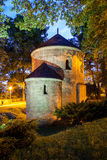 Night view of the Romanesque St Nicholas Rotunda on Castle Hill in Cieszyn, Poland. One of the oldest romanesque monuments in Polish This Rotunda is shown on 20 stock image