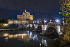 Night view of Rome Castle Sant Angelo Stock Photography