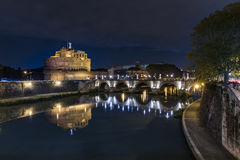 Night view of Rome Castle Sant Angelo Royalty Free Stock Photos