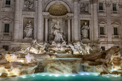 Night view of Rome Trevi Fountain (Fontana di Trevi) in Rome, Italy. Royalty Free Stock Photography
