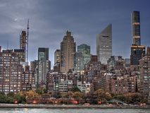 Night View from Roosevelt Island  of midtown NewYork. Night View from Roosevelt Island  of midtown high rises New York. Evening light Royalty Free Stock Image