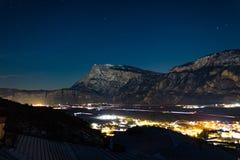 "Trentino Alto Adige, Paganella. Night view of the ""Piana Rotaliana in Trentino"". Panorama notturno della piana Rotaliana in Trentino stock photo"