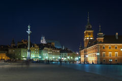 Night view of Royal Castle and Old Town in Warsaw Royalty Free Stock Photos