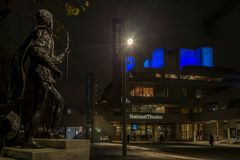 Night view of the Royal National Theatre, London. LONDON, ENGLAND - NOVEMBER 28, 2017: Night view of the Royal National Theatre, piece of the New Brutalism Stock Photography