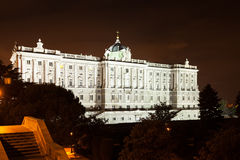 Night view of Royal Palace of Madrid Stock Image