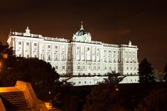 Night view of Royal Palace of Madrid Stock Image