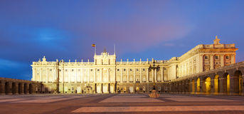 Night view of Royal Palace in Madrid Royalty Free Stock Photos