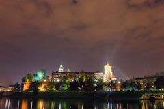 Night view of Royal Wawel castle Stock Images
